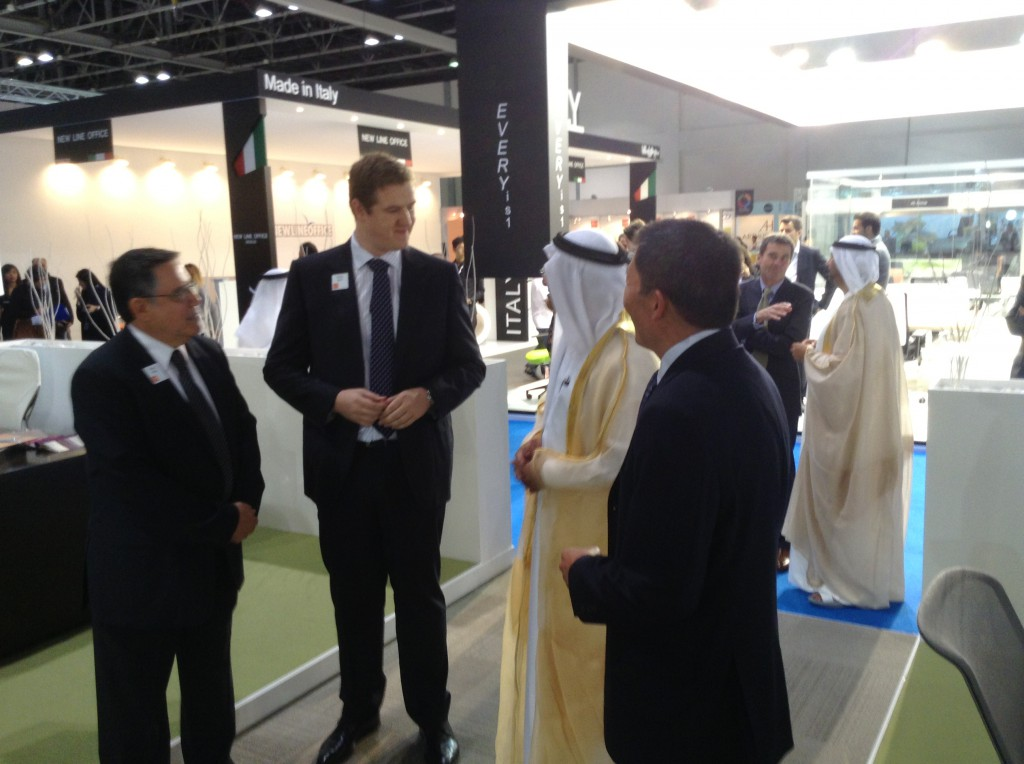 UAE Minister of Education welcomed to the HNI stand at the Dubai Office Exhibition 2013